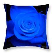Misty Blue Rose Throw Pillow