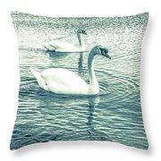 Misty Blue Swans Throw Pillow