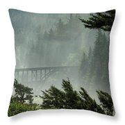 Misty Bridge At Heceta Head Throw Pillow