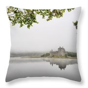 Misty Castle Throw Pillow