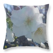 Misty Cherry Blossoms Throw Pillow