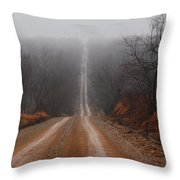 Misty Country Road Throw Pillow