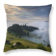 Misty Dawn In The Mountains Throw Pillow
