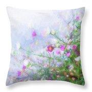 Misty Floral Spray Throw Pillow