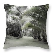 Misty Hawaiian Garden Throw Pillow
