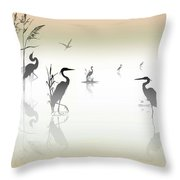 Misty Heron Silhouettes Throw Pillow