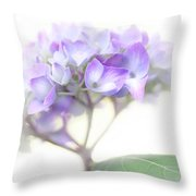 Misty Hydrangea Flower Throw Pillow