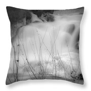 Misty Icy Waterfall Throw Pillow