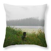 Misty Lake Throw Pillow
