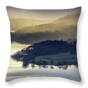 Misty Lake Windermere Throw Pillow
