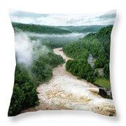 Misty Morning At Summersville Lake Dam Throw Pillow