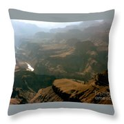 Misty Morning At The Grand Canyon  Throw Pillow