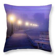Misty Morning Boardwalk Throw Pillow