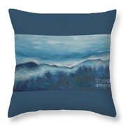 Misty Morning Fog Mount Mansfield Panorama Painting Throw Pillow