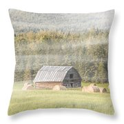Misty Morning Haybales Throw Pillow