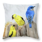 Misty Morning Meadow- Goldfinches And Bluebird Throw Pillow