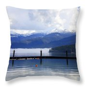 Misty Morning On Priest Lake Throw Pillow