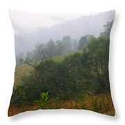Misty Morning On The Farm Throw Pillow