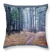 Misty Morning Trail In The Woods Throw Pillow
