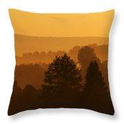 Misty Mountain Sunrise Mirror Image Throw Pillow