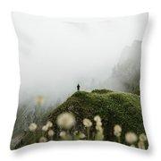 Misty Mountain View Throw Pillow