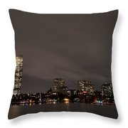 Misty Night On The Charles River Boston Ma Throw Pillow