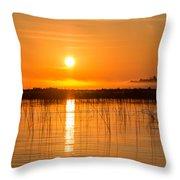 Misty Orange Sunrise On Boy Lake Throw Pillow