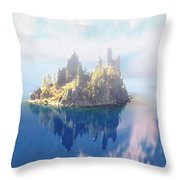 Misty Phantom Ship Island Crater Lake Throw Pillow