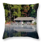 Misty Reflection At Durant Throw Pillow by George Randy Bass