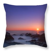 Misty Rock Sunrise Throw Pillow