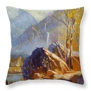 Misty Rocks Throw Pillow