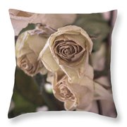 Misty Rose Tinted Dried Roses Throw Pillow