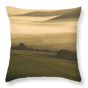Misty South Downs Throw Pillow