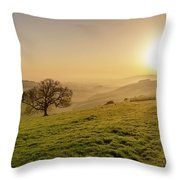 Misty South Downs Way Throw Pillow