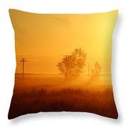 Misty Sunny Morning Throw Pillow