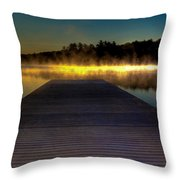 Misty Sunrise On Old Forge Pond Throw Pillow