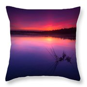 Misty Sunset At Singing Sands Beach Throw Pillow