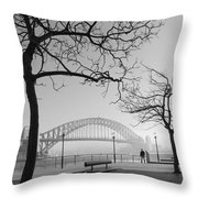 Misty Sydney Morning Throw Pillow