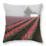 Misty Tulip Fields Iv Throw Pillow
