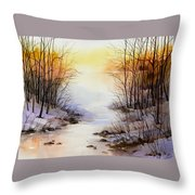 Misty Winter Stream Throw Pillow