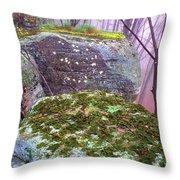 Misty Woodland Scenic Throw Pillow