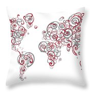 Mit University Colors Swirl Map Of The World Atlas Throw Pillow