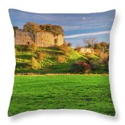 Mitford Castle Beside River Wansbeck Throw Pillow