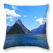 Mitre Peak In Milford Sound New Zealand Throw Pillow