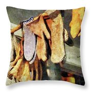 Mittens In General Store Throw Pillow by Susan Savad