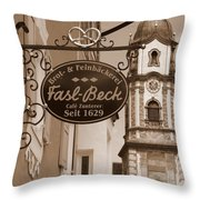 Mittenwald Cafe Sign In Sepia Throw Pillow