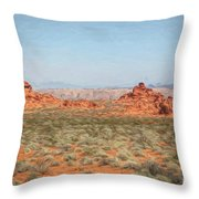 Mix Media Valley Of Fire  Throw Pillow