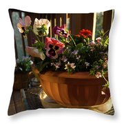Mixed Basket, Balcony Garden, Hunter Hill, Hagerstown, Maryland, Throw Pillow