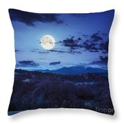 Mixed Forest Near Valley In Mountains  On Hillside At Night Throw Pillow