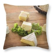 Mixed French Cheese Platter With Bread Throw Pillow